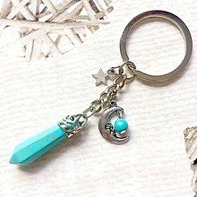 Kľúčenky - Tyrkenite Moon Keychain / Kľúčenka s príveskami - 10879460_