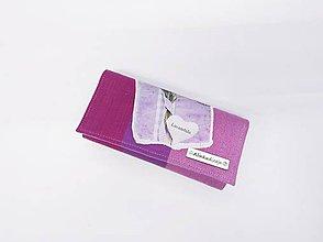 Peňaženky - Priehradková peňaženka zo šatky  Little Frog Sunny Agate s panelom Levanduľa - 10881113_