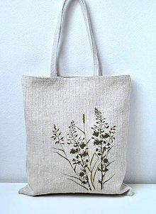 Veľké tašky - Ľanová nákupná taška-Tráva - 10880819_