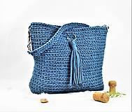 Kabelky - Kabelka / taška háčkovaná natur jeans - 10878548_