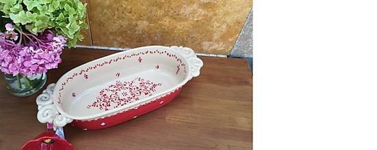 Nádoby - Červený keramický pekáč na chlieb - 10879957_
