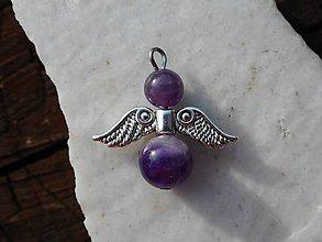 Náhrdelníky - angels (ametyst-kľúčenka) - 10881383_