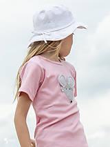 Detské oblečenie - ružové tričko MYŠKA SIVÁ 86 - 134 (dlhý aj krátky rukáv) - 10880160_