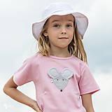 Detské oblečenie - ružové tričko MYŠKA SIVÁ 86 - 134 (dlhý aj krátky rukáv) - 10880166_