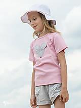 Detské oblečenie - ružové tričko MYŠKA SIVÁ 86 - 134 (dlhý aj krátky rukáv) - 10880171_