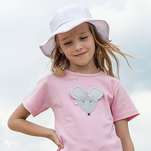 ružové tričko MYŠKA SIVÁ 86 - 134 (dlhý aj krátky rukáv)