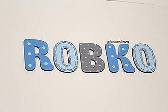 Detské doplnky - Modručké drevené písmenká ROBKO - 10878765_