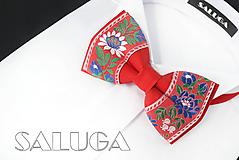 Detské doplnky - Folklórny detský červený motýlik - folkový - ľudový - 10879467_