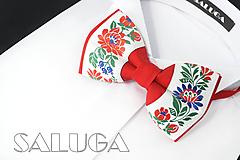 Doplnky - Folklórny pánsky červený motýlik - folkový - ľudový  (pánsky motýlik bez vreckovky) - 10879500_