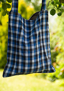 Nákupné tašky - Látková taška - modro-sivá - 10879713_