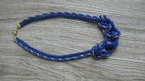 Náhrdelníky - Uzlový náhrdelník z dvoch šnúr (modro zlatý, č 2771) - 10880733_