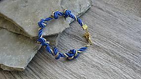 Šnúrový uzlový náramok (modro zlatý, č. 2772)
