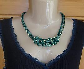 Náhrdelníky - Uzlový náhrdelník z dvoch šnúr (tmavo zelený so zlatou, č. 2768) - 10880642_