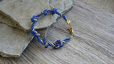 Náramky - Šnúrový uzlový náramok (modro zlatý, č. 2772) - 10880751_