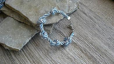 Náramky - Šnúrový uzlový náramok (svetlo modrá so striebornou, č. 2776) - 10880826_