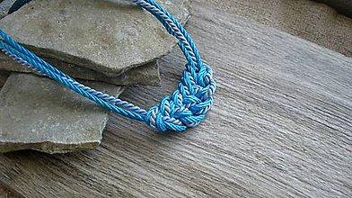 Náhrdelníky - Uzlový náhrdelník z troch šnúr (tyrkysový č. 2779) - 10880981_