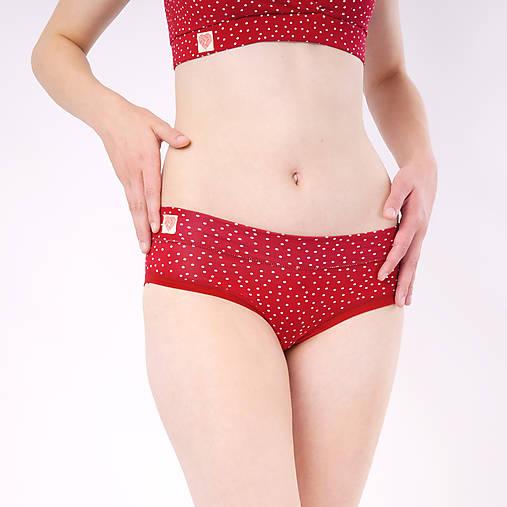 Nohavičky bez gumičky z bio bavlny GOTS - červené