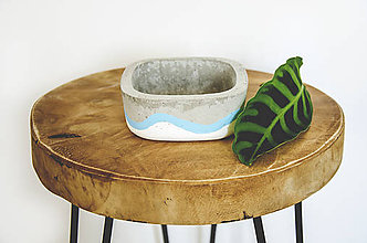 Nádoby - Maľovaný betónový kvetináč S - 10878906_