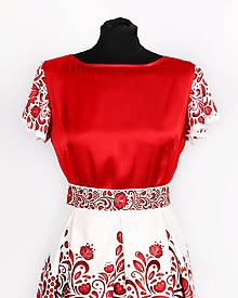 Topy - Saténový top s volánovými rukávmi- potlač FOLK ROSES (červený folk na bielej) - 10878778_