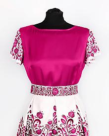 Topy - Saténový top s volánovými rukávmi- potlač FOLK ROSES (ružový folk na bielej) - 10878793_