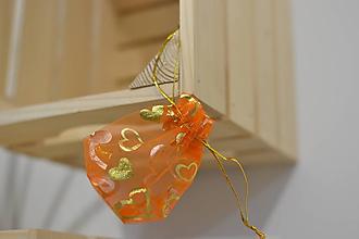 Obalový materiál - ozdobné oranžové vrecúško - 10879079_