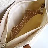 Veľké tašky - Ľanová taška na veľ. A4 / folk 2 (hnedotyrkysová) - 10879305_