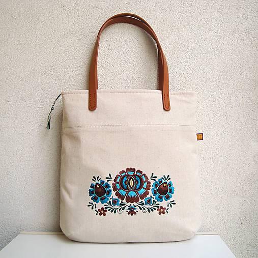 Ľanová taška na veľ. A4 / folk 2 (hnedotyrkysová)