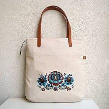 Veľké tašky - Ľanová taška na veľ. A4 / folk 2 (hnedotyrkysová) - 10879301_