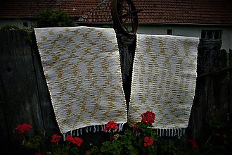 Úžitkový textil - Tkané koberce krémovo-zlatožlté 2 kusy - 10881220_