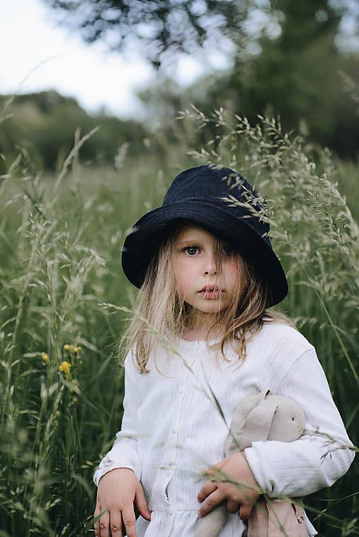 Detské čiapky - Ľanový klobúčik - 10882748_