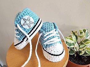 Topánočky - Mentolové tenisky s hviezdičkou - 10884187_