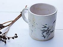 Nádoby - Keramický hrnček s trávou perleť + mint - 10883379_