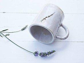 Nádoby - Keramický hrnček s levanduľou perleť + mint - 10883319_
