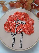 Dekorácie - Stromy (ručne vyšívaný obrázok) - 10881810_