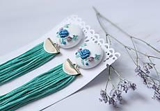 Náušnice - Náušnice so strapcom a vyšívanými kvetmi - 10883810_