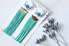 - Náušnice so strapcom a vyšívanými kvetmi - 10883811_