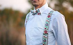 Ozdoby do vlasov - Spoločenský/svadobný biely folk set pre neho a pre ňu - 10881547_