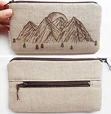 Peňaženky - Peňaženka - Hory a slnko (natur 100% ľan) - 10883134_