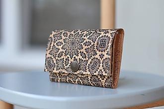 Peňaženky - Korková peňaženka S čierny ornament - 10883982_