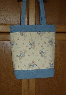 Veľké tašky - Taška ríflová s kvietkami (dva varianty) (výška 38cm) - 10882715_