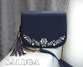 Kabelky - Ručne maľovaná folklórna kabelka - modrá - ľudová - 10882476_