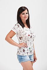 Tričká - Dámské 100% MERINO tričko indiáni na smetanové - 10882314_