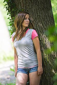 Tričká - Dámské 100% MERINO tričko dvoubarevné - 10882323_