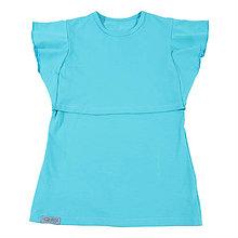 Tehotenské/Na dojčenie - Tričko na dojčenie - s volánom aqua - 10882869_
