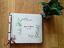 Papiernictvo - Fotoalbum klasický, papierový obal so štruktúrou plátna a ľubovoľnou potlačou (Fotoalbum klasický, papierový obal so štruktúrou  a  potlačou greenery 2) - 10884117_