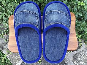Obuv - Riflové papuče s vreckom a modrým lemom - 10881667_
