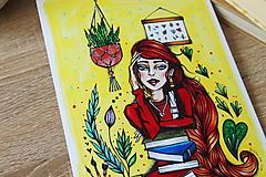 Kresby - Slečna rastlinkárka - print - 10882399_