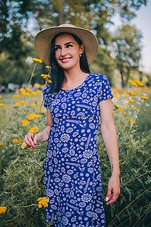 Tehotenské/Na dojčenie - Úpletové šaty na dojčenie - modrý krojový folk - 10882034_