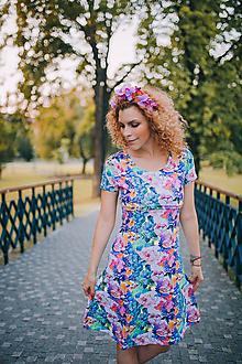 Tehotenské/Na dojčenie - Úpletové šaty na dojčenie - Farebná záhrada - 10882085_
