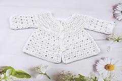 Detské oblečenie - Biely svetrík pre novorodenca EXTRA FINE - 10882491_